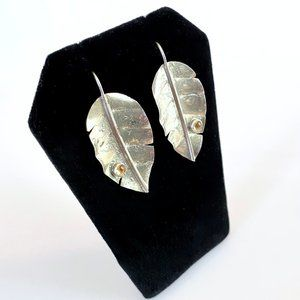 Silver Leaf Earrings With Citrine Droplet